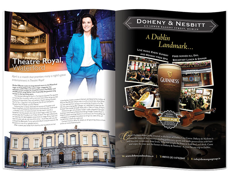 Inside pages of the magazine Travel Ireland designed & printed by Outburst design