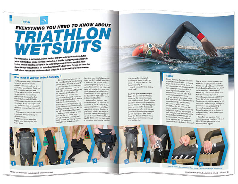 Double page spread of magazine Triathlon Racing Ireland designed & printed by Outburst design