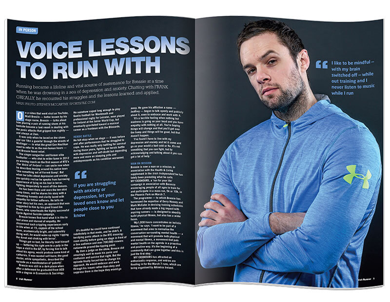 Inside pages of the magazine Irish Runner designed & printed by Outburst design