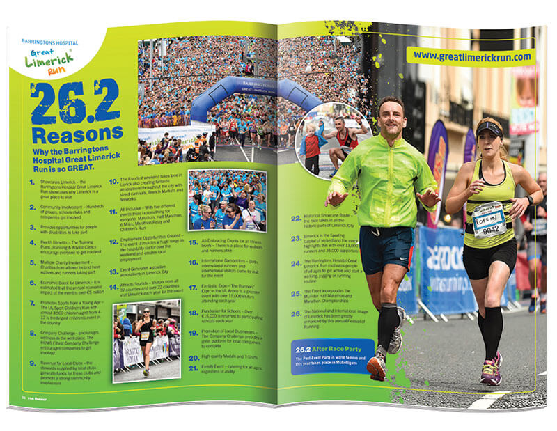Double page spread of magazine Irish Runner designed & printed by Outburst design